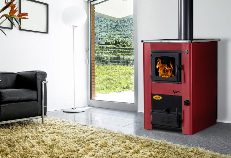 Soba de gatit pe lemn cu incalzire centrala Concept 2 Mini - rosu