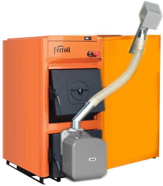Centrala termica pe peleti Ferroli FSB PRO 35 kW cu arzator de peleti SUN P7 si rezervor de peleti 195 litri