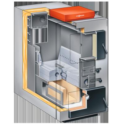 Centrala termica pe lemn cu gazeificare Viessmann Vitoligno 100 S 80 kW - sectiune