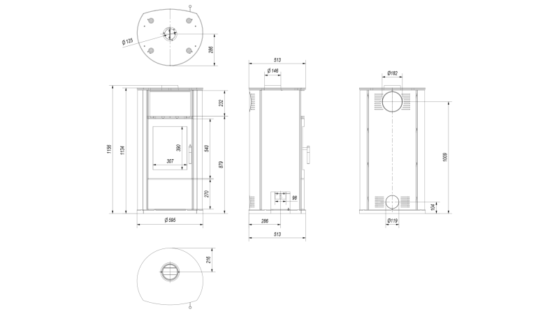 Soba-semineu pe lemn Epsilon 8 kW - desen tehnic