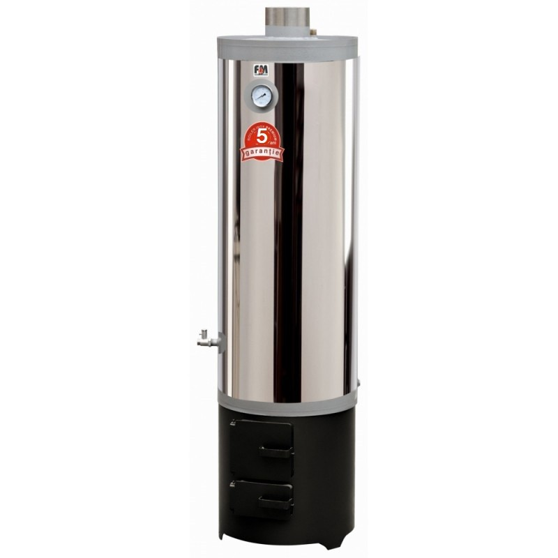 Ansamblu boiler inox 120 L cu focar cu usi din tabla de otel - 5 ani garantie