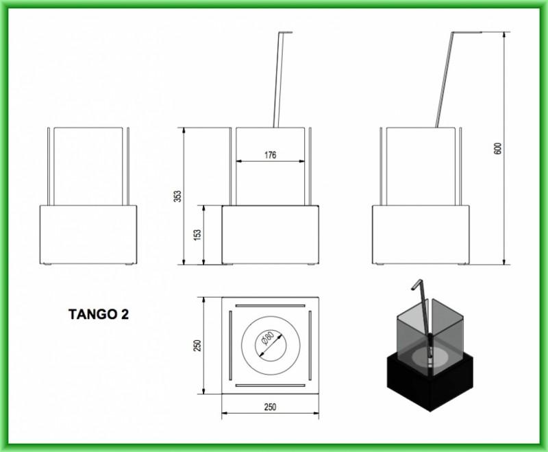 Semineu cu bioetanol portabil TANGO 2 TUV - desen tehnic