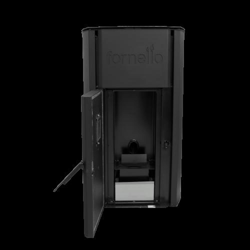Centrala termica pe peleti FORNELLO ROYAL 25 kW - vedere frontala cu usa deschisa