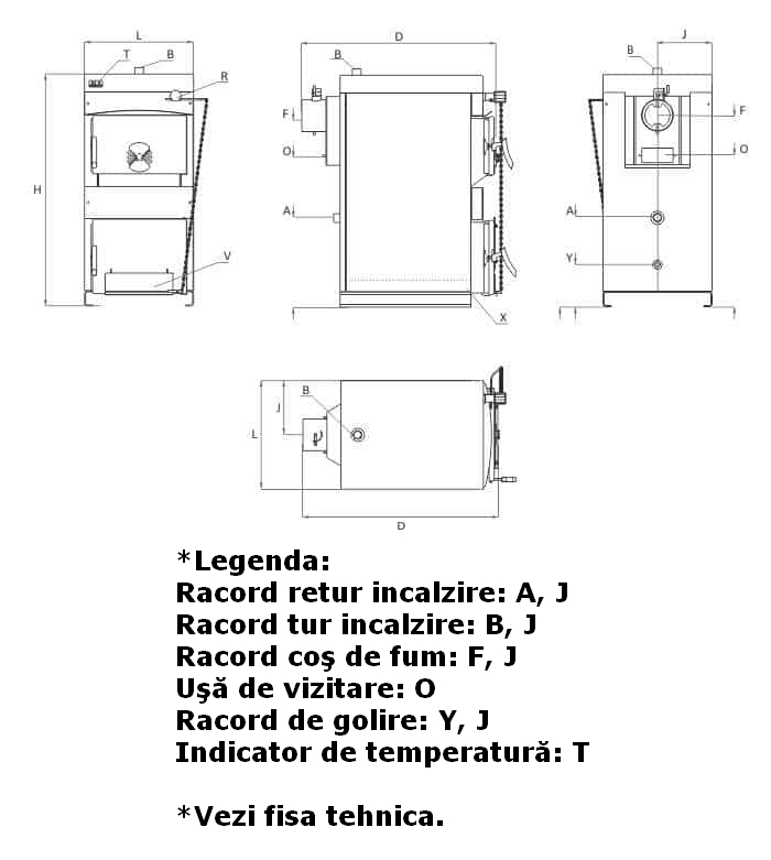 Centrala termica pe lemn BURNIT NWB - desen tehnic