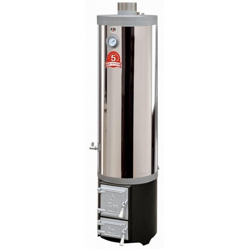 Ansamblu boiler inox 90 litri si focar cu usi din fonta - 5 ani garantie