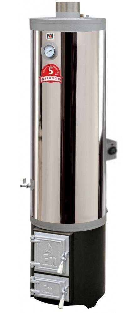 Ansamblu boiler inox 90L cu focar cu usi din fonta FM + ELECTRIC