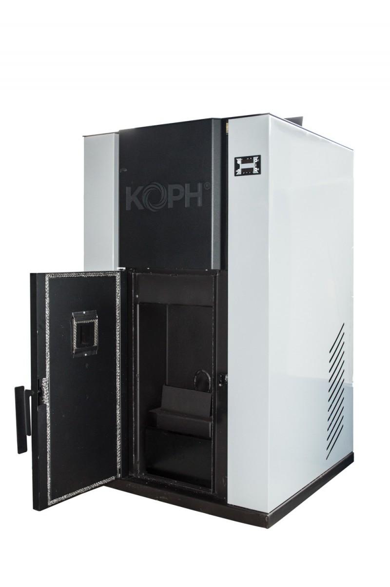 Centrala termica pe peleti PM 40 kW - culoare gri cu usa deschisa