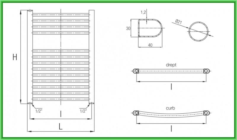 Radiator port-prosop FERROLI TALIA - desen tehnic
