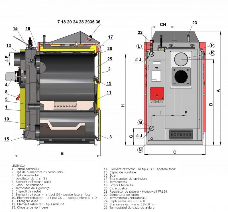 Centrala termica pe lemn cu gazeificare ATMOS  - desen tehnic