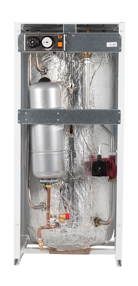 Boiler de apa calda cu acumulare din otel inoxidabil Motan tip BA 120 LPV vedere interioara