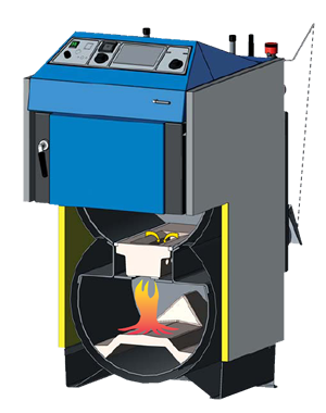 Centrala termica pe lemn cu gazeificare ATMOS DC25S 25 kW - sectiune camera gazeificare si focar