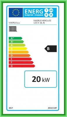 Eticheta energetica centrala termica pe lemn din elementi de fonta VIADRUS U22D 20 kW