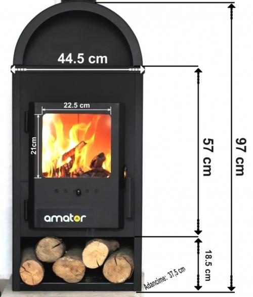 Soba-semineu AMATOR W9 9 kW - dimensiuni de gabarit