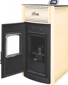 Termosemineu pe peleti Ferroli SALERNO PELLET 24 kW - cu usa deschisa