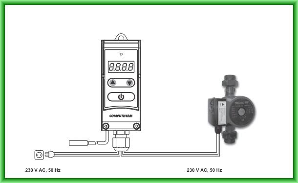 Controler electronic digital pentru pompe COMPUTHERM WPR-100GC - schema de montaj