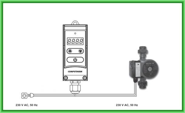 Controler electronic digital pentru pompe COMPUTHERM WPR-100GD - schema de montaj