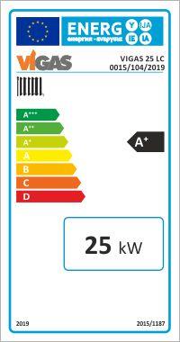 Centrala termica pe lemn cu gazeificare VIGAS.25LC 25 kW - eticheta energetica