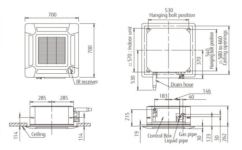Echipament de climatizare tip caseta FUJITSU AUYG24LVLA/AOYG24LALA 24000 BTU - desen tehnic