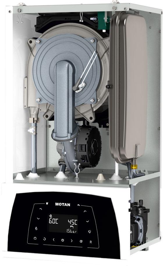 entrala termica pe gaz in condensatie MOTAN CONDENS PLUS 100 - vedere fara capac frontal
