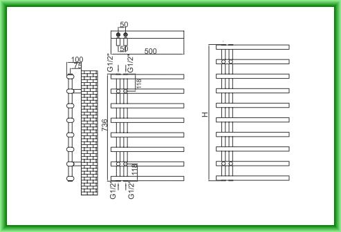 Radiator port-prosop decorativ alb RADOX LINX - desen tehnic