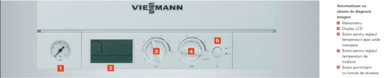 Centrala termica pe gaz Viessmann Vitopend 100-W 30 kW cu tiraj natural panou de control
