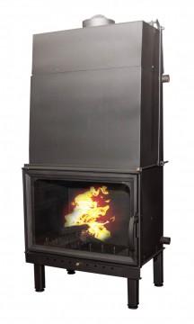 Poza  Termosemineu pe lemn tip insert Carla Aqua+ 33 kW vedere fata cu foc