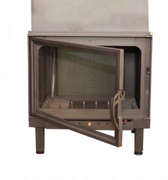 Poza  Termosemineu pe lemn tip insert Carla Aqua+ 33 kW vedere usa si focar din fonta