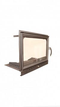Poza  Termosemineu pe lemn tip insert Carla Aqua+ 33 kW vedere detaliu usa focar fonta