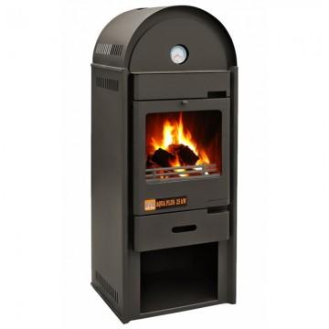 Poza Termosemineu AQUA PLUS 25 kW vedere fata cu foc