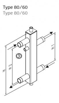 Poza Butelie de egalizare SINUS 80/60 + izolatie EPP - 4.5 m³/h - schema