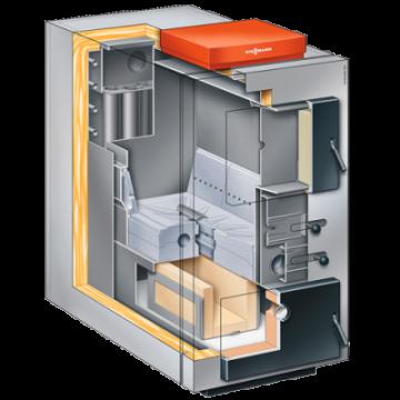 Poza Centrala termica pe lemn cu gazeificare Viessmann Vitoligno 100 S 80 kW - sectiune