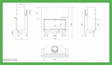 Poza Semineu pe lemn tip insert cu deschidere verticala Nadia 14 G 14 kW - desen tehnic