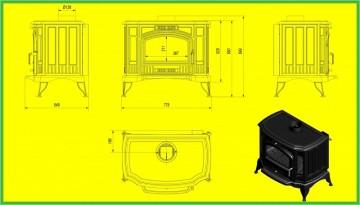 Poza Soba-semineu pe lemn din fonta K9 10 kW cu regulator automat de tiraj - desen tehnic