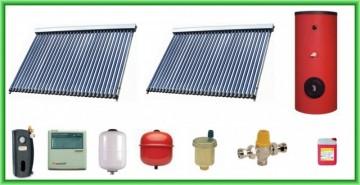 Poza Pachet solar cu doua panouri cu 30 de tuburi vidate si boiler bivalent de 400 litri