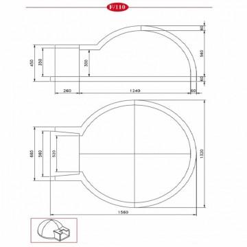 Poza Cuptor pe lemne pentru paine prefabricat CLAM F110 - desen tehnic