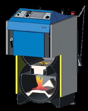 Poza Centrala termica pe lemn cu gazeificare ATMOS DC25S 25 kW - sectiune camera gazeificare si focar
