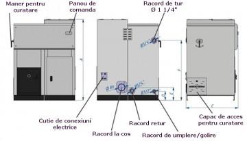 Poza Centrala termica pe peleti DOMINUS - pozitii racorduri la instalatii