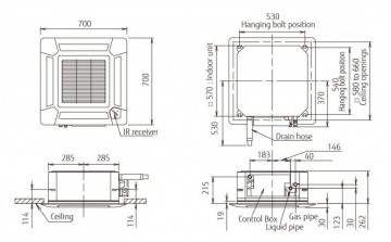 Poza Echipament de climatizare tip caseta FUJITSU AUYG12LVLB/AOYG12LALL 12000 BTU - desen tehnic